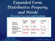 Expanded Form, Distributive Property, and  Words (Percent,