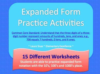 Expanded Form Place Value Practice Worksheets