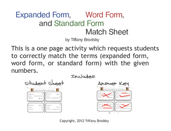 Expanded Form, Word Form, and Standard Form Match Math She