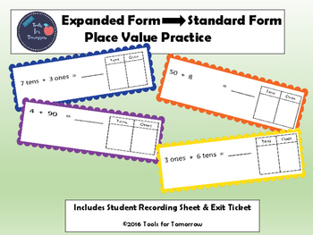 Expanded Form to Standard Form-Place Value Practice