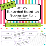 Expanded Notation with Decimals Scavenger Hunt