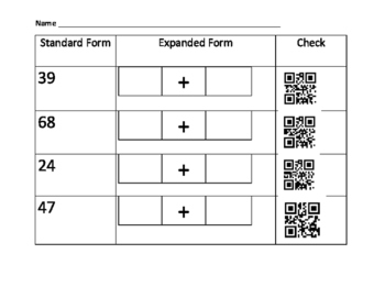 Expanded and Standard form QR code Practice page
