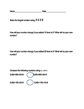 Comparison of Numbers- Expanded form of numbers worksheets