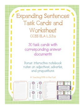 Task Cards: Expanding Sentences with Adjectives, Adverbs,
