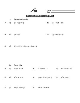 Expanding and Factoring Quiz