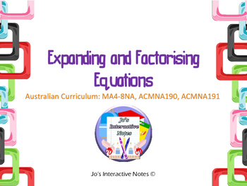 Expanding and Factorising Expressions Foldable