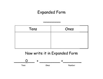 Expaned Form Graphic Organizer by 10s