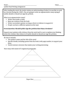 Expeditionary Learning Lyddie Graphic Organizer