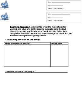 Expeditionary Learning Module 1 Unit 2 Lesson 1 GN