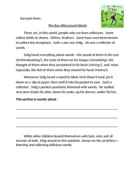 Expeditionary Learning - The Boy Who Loved Words Excerpts