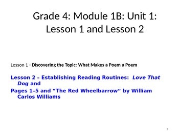 Expeditionary Learning Unit 1B, Module 2 Lessons 1 and 2 -