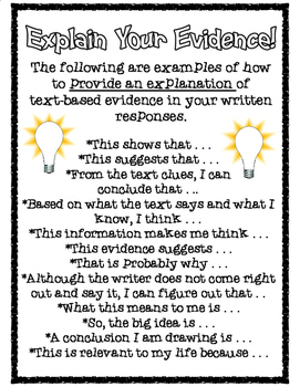 Explain Your Evidence: Explanation Starters for Text-Based