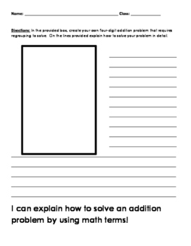 Explaining how to solve an addition problem worksheet