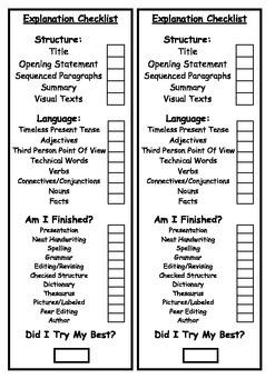 Explanation Writing Bookmark/Checklist