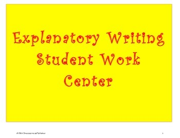 Explanatory Writing Student Work Center