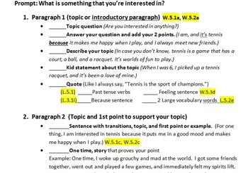 Explanatory/Informative/Essay Writing Check-off List