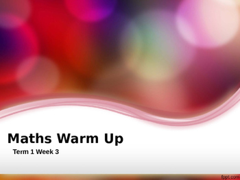 Explicit Teaching Math Warm Up Term 1 Week 3 Year 1