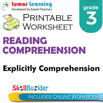 Explicitly Comprehension Printable Worksheet, Grade 3