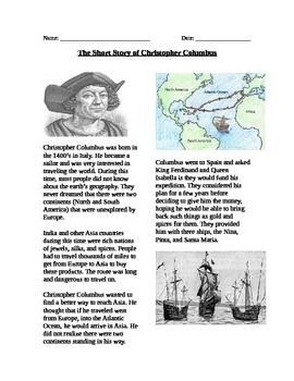 Exploration: The Short Story of Christopher Columbus and t