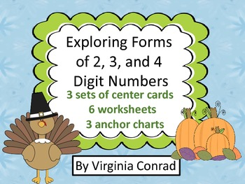 Explore 2, 3, and 4 Digit Number Forms--Centers and Worksh