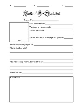Explorer Biography Worksheet