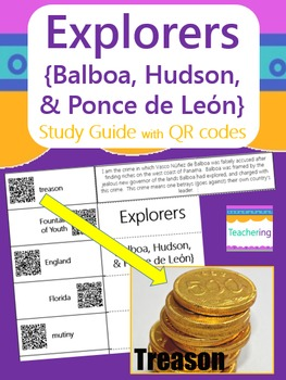 Explorers Study Guide with QR Codes {Balboa, Hudson, Pon