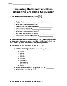 Exploring Rational Functions - Graphing Calculator Activity
