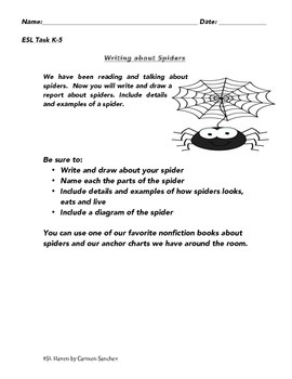 Exploring Spiders, Spiders Everywhere for ELLs