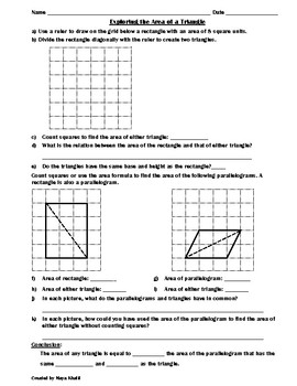 Exploring the Area of a Triangle Activity II