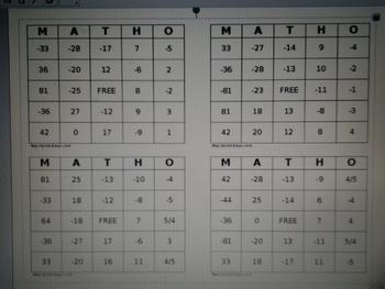 Integer BINGO Game for Pre-Algebra & Algebra I