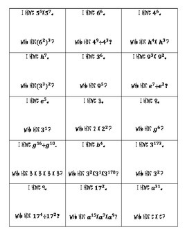 Exponent Rules I Have Who Has Cards