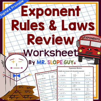 Exponent Rules & Laws Unit Review Worksheet HSN-RN.A.2