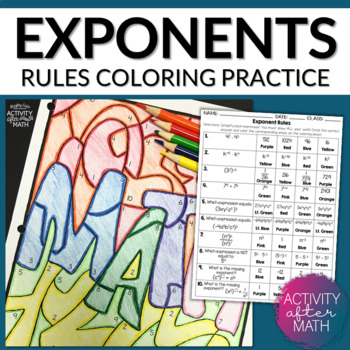Exponent Rules Simplifying Expressions Color By Number