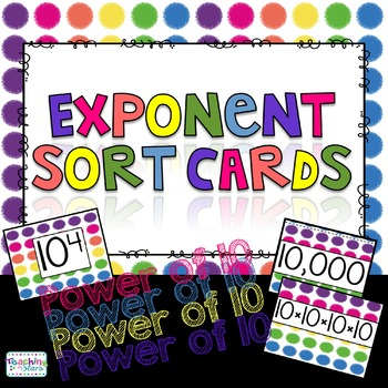 5th Grade Math Centers: Exponent Sort Cards