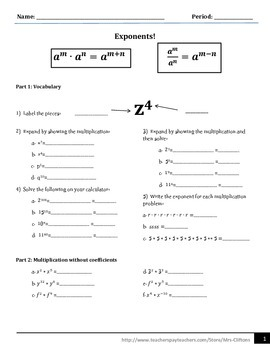 Exponent laws (mult. and div.)