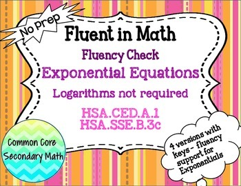 Exponential Equations without Logarithms Fluency Check : N