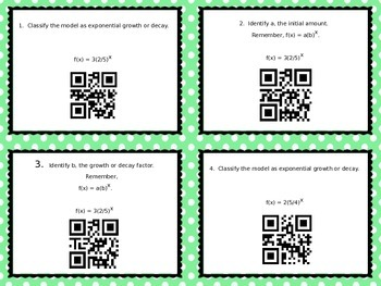Exponential Growth and Decay Differentiated Task Cards wit