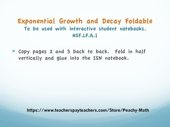 exponential growth and decay foldable by peachy math teachers pay teachers. Black Bedroom Furniture Sets. Home Design Ideas