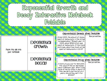 Exponential Growth and Decay Interactive Notebook Foldable