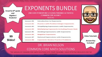 Exponents Bundle - PowerPoint Lessons and Printables!