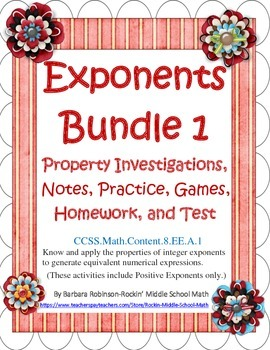 Exponent Rules Bundle - Investigation, Notes, Practices, H