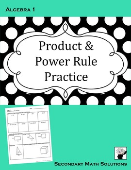 Exponents - Product & Power Rule Practice