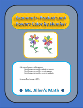Exponents - Products and Powers - Color By Number