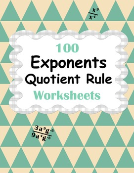 Exponents - Quotient Rule Worksheets