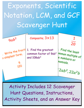 Exponents, Scientific Notation, GCF, and LCM Scavenger Hunt