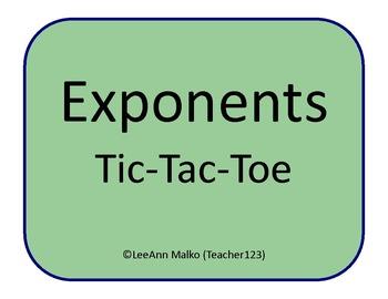 Exponents Tic-Tac-Toe