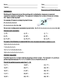 Exponents and Perfect Squares