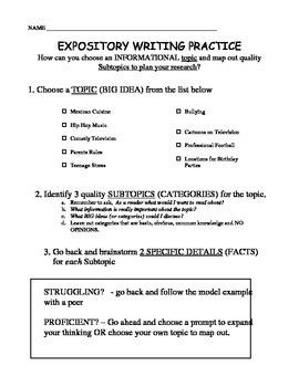 Expository Informational Topic Vs Subtopic Practice