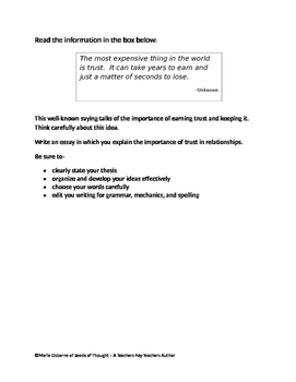 Expository Prompt for STAAR English 1- Trust