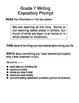 Expository Prompts 7th Grade STAAR Format